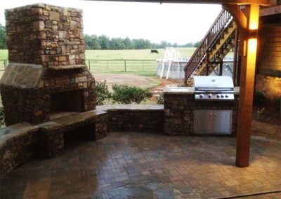 Paver Patio & Outdoor Kitchen Under Pergola