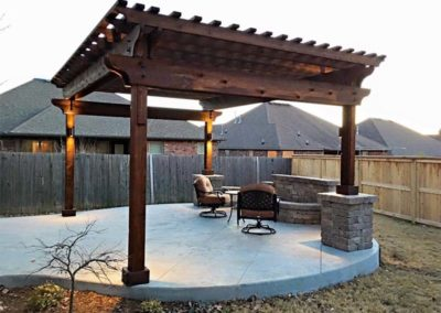 Backyard Concrete Patio & Pergola