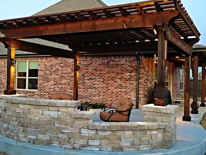 Wood Pergola & Rock Firepit